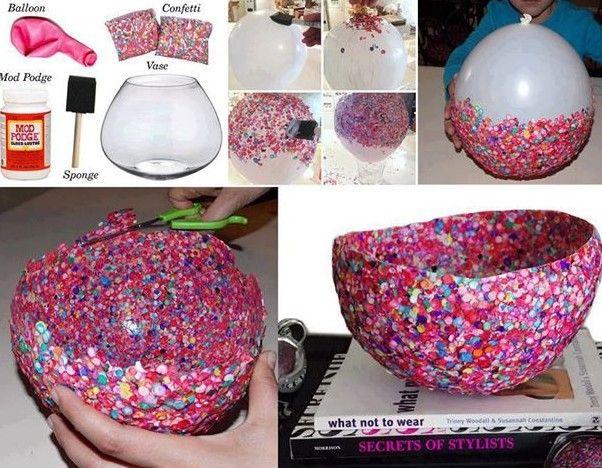 Manualidades manualidad con globos y papel manualidades - Manualidades para decorar el hogar paso a paso ...
