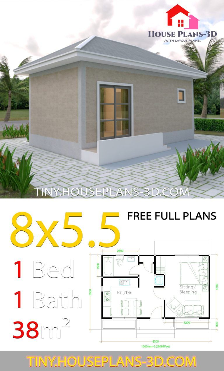 Small House Plans 8x5 5 With One Bedrooms Gross Hipped Roof Tiny House Plans Small House Plans House Plans Bungalow House Design