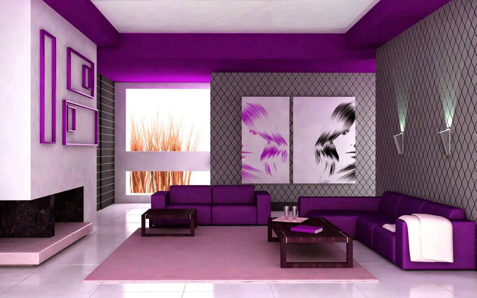 remarkable modern purple living room | remarkable light violet color house (5) in 2019 | Purple ...