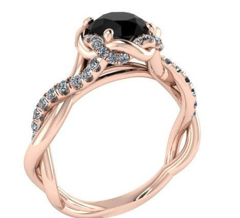 Black Diamond Wedding Ring The Best Engagement Rose Gold With Center Stone Designed By Irina Pinterest