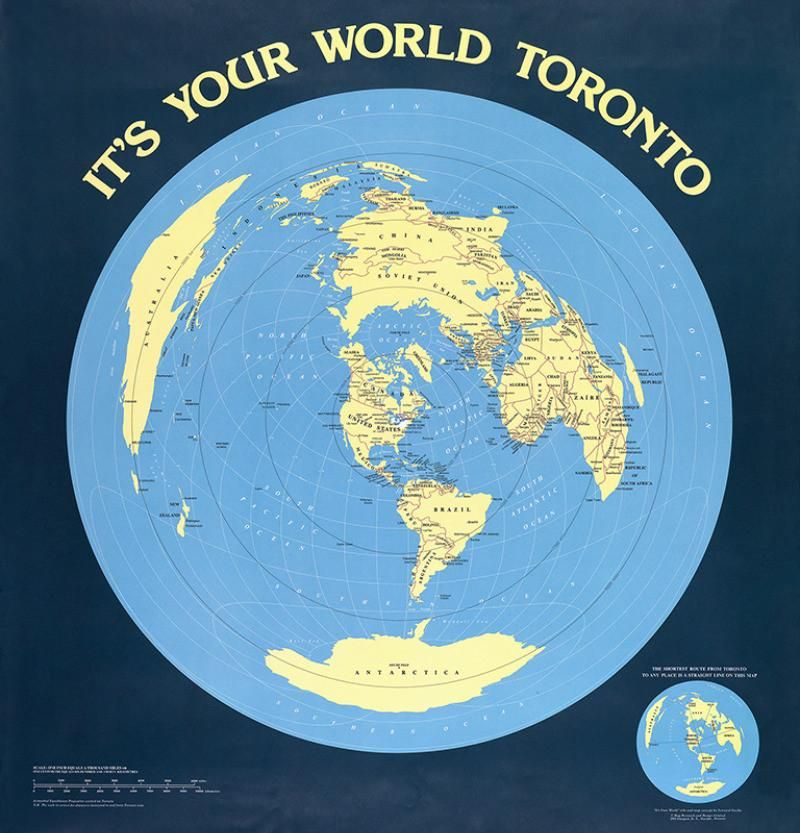 Toronto centered world map poster flat earth flat earth toronto centered world map poster gumiabroncs Gallery
