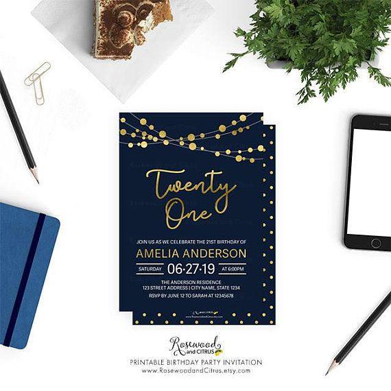 Printable 21st Birthday Invitation Elegant Party Twenty One Str