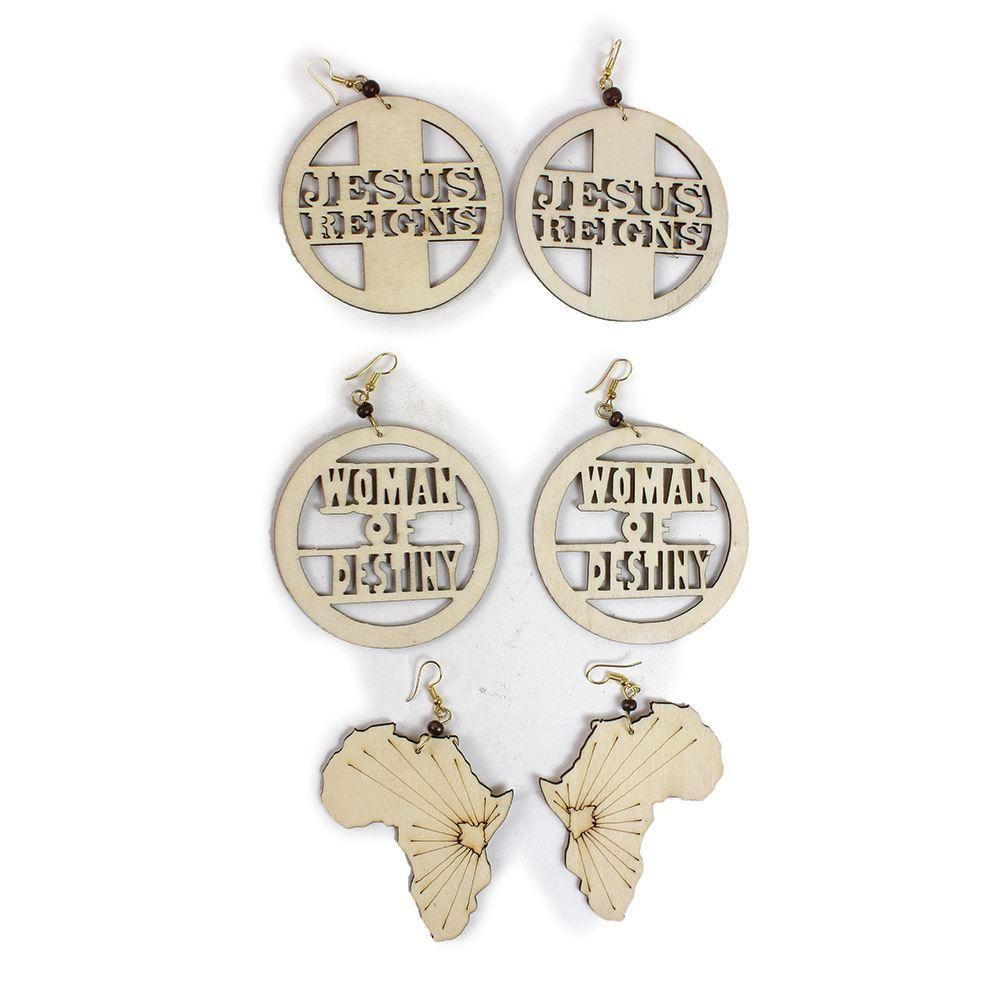 African Wood Earrings Beauty Supply Wood Earrings Earring Set