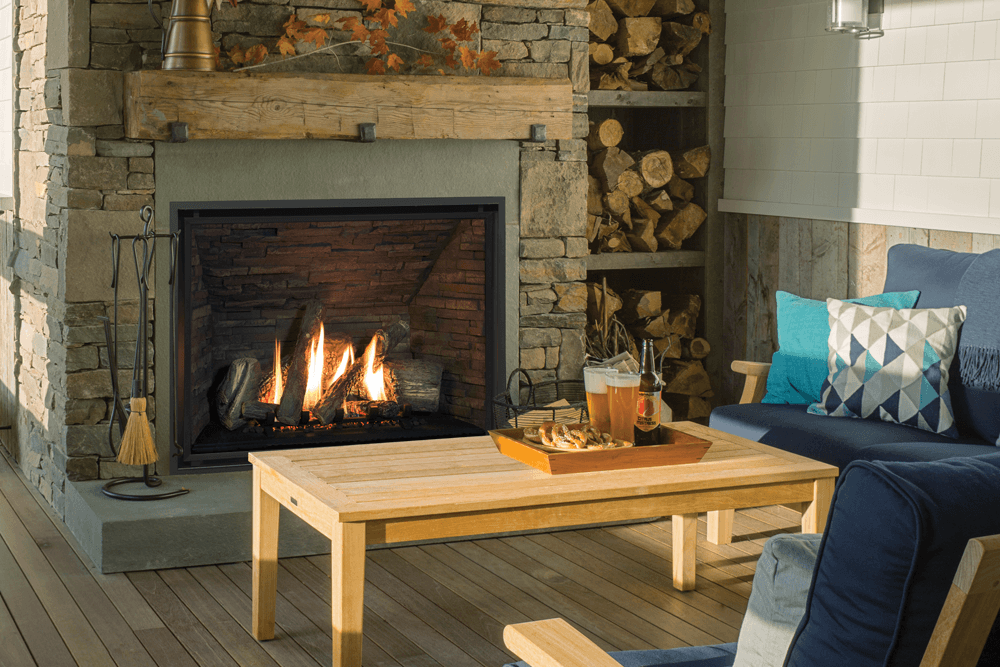 H6 Series Shown With Traditional Logs Ledgestone Liner And 1 Inch Fixed Framing Kit Living Room Redesign Gas