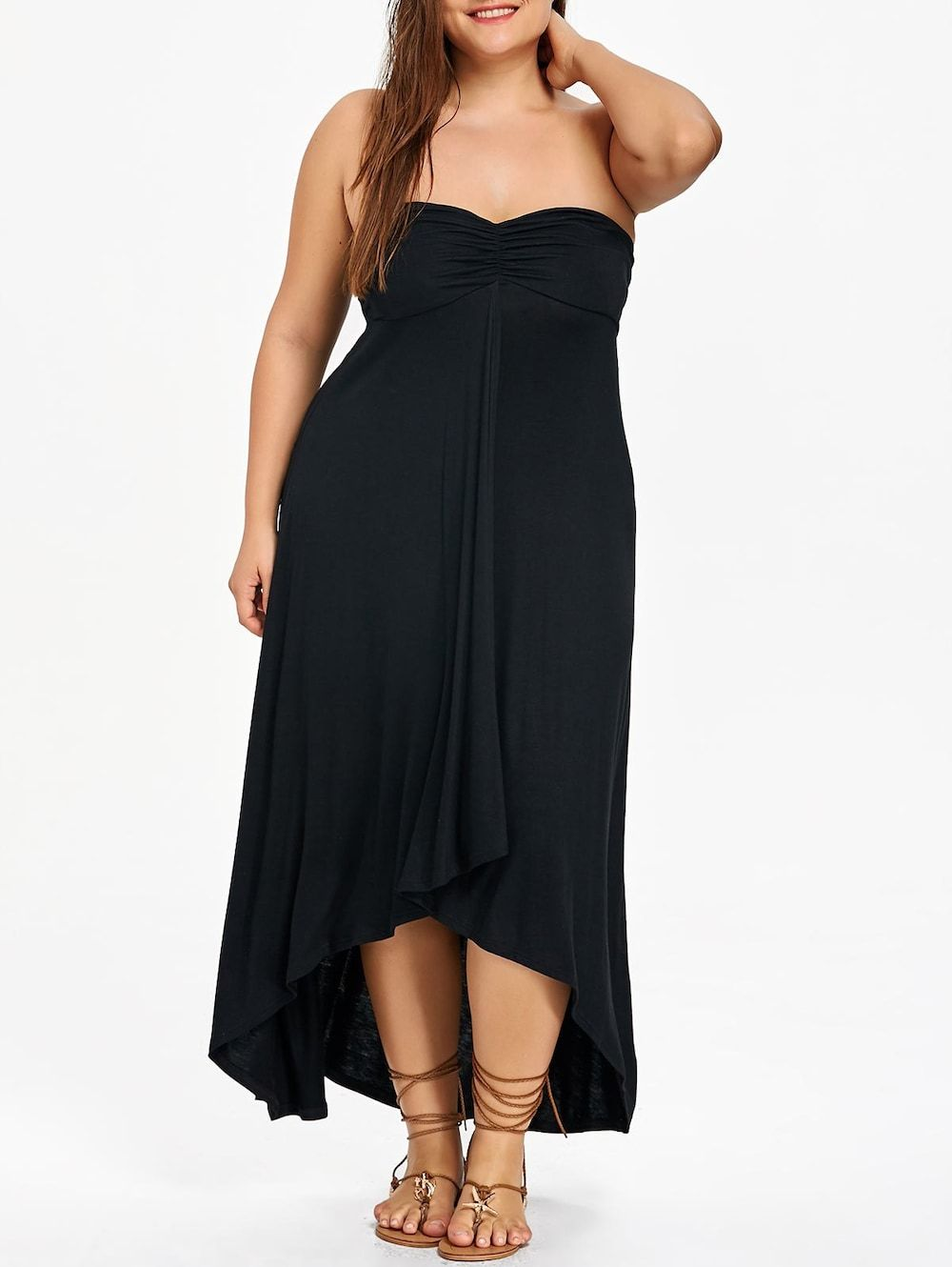 Plus size empire waist maxi flowy dress empire and black