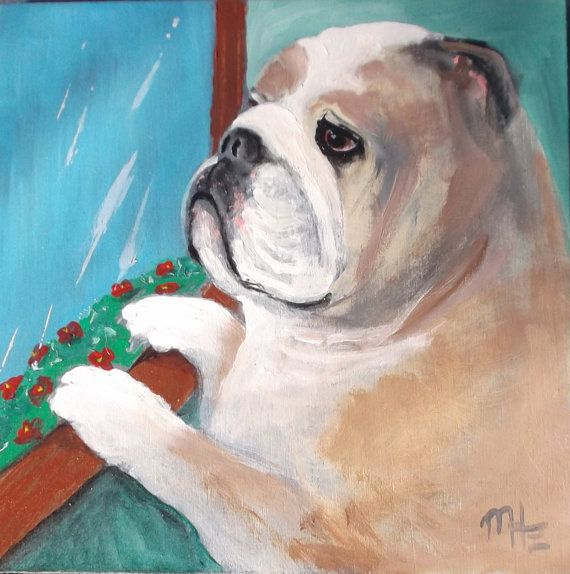 English Bulldog Art Painting Signed Original OMG she by dogwagart