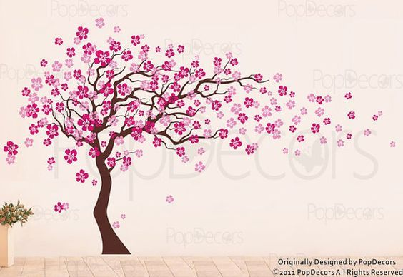 Pop Decors Cherry Blossom Tree Is Blowing In The Wind As The Leaves And Flowers Are Dancing Across The Wall This Ch Tree Wall Decal Blossom Trees Girl Decals