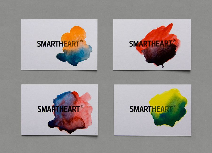 New brand identity for smartheart bpo watercolor business cards logo and bright hand painted watercolour business cards for design agency smartheart colourmoves