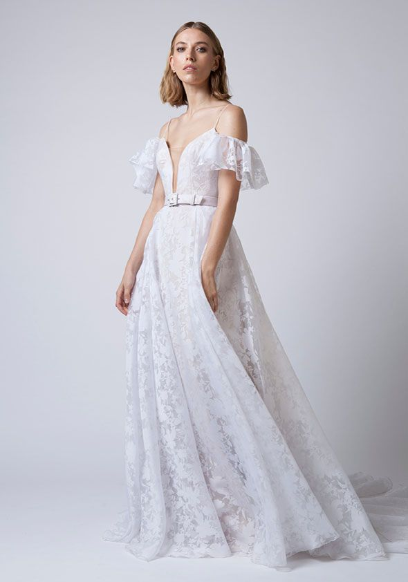 Mariana Hardwick Wedding Dresses - Incarnation bridal collection -  Modern a-line wedding dress spaghetti straps deep v neckline and detachable sleeves #weddingdress #weddinggown #weddingdresses