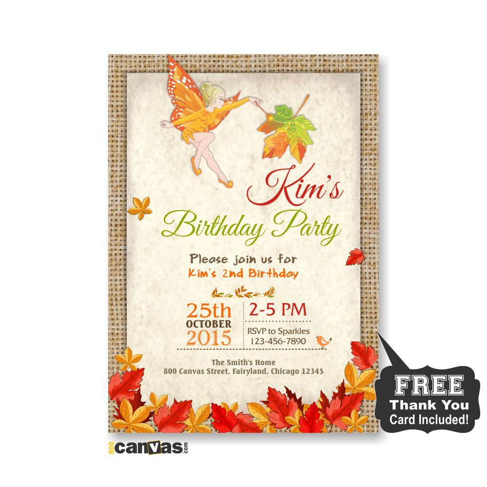 Fairy birthday invitation girl party invite fall autumn woodland autumn fairy birthday invitation fairy invitations fall fairy party invites girls birthday party invitations fall fairy garden party 236 by 800canvas on filmwisefo