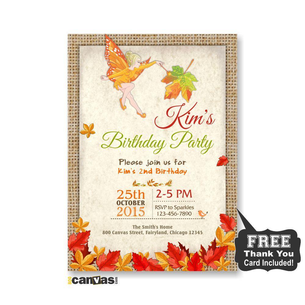Autumn Fairy Birthday Invitation. Girl Party Invite, Fall Fairy ...