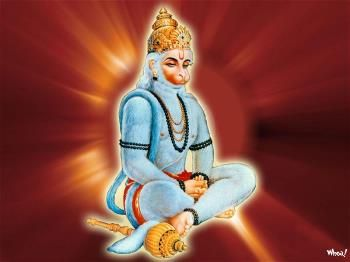 God Hanuman Seating Image With Red Background Hd Wallpapers For