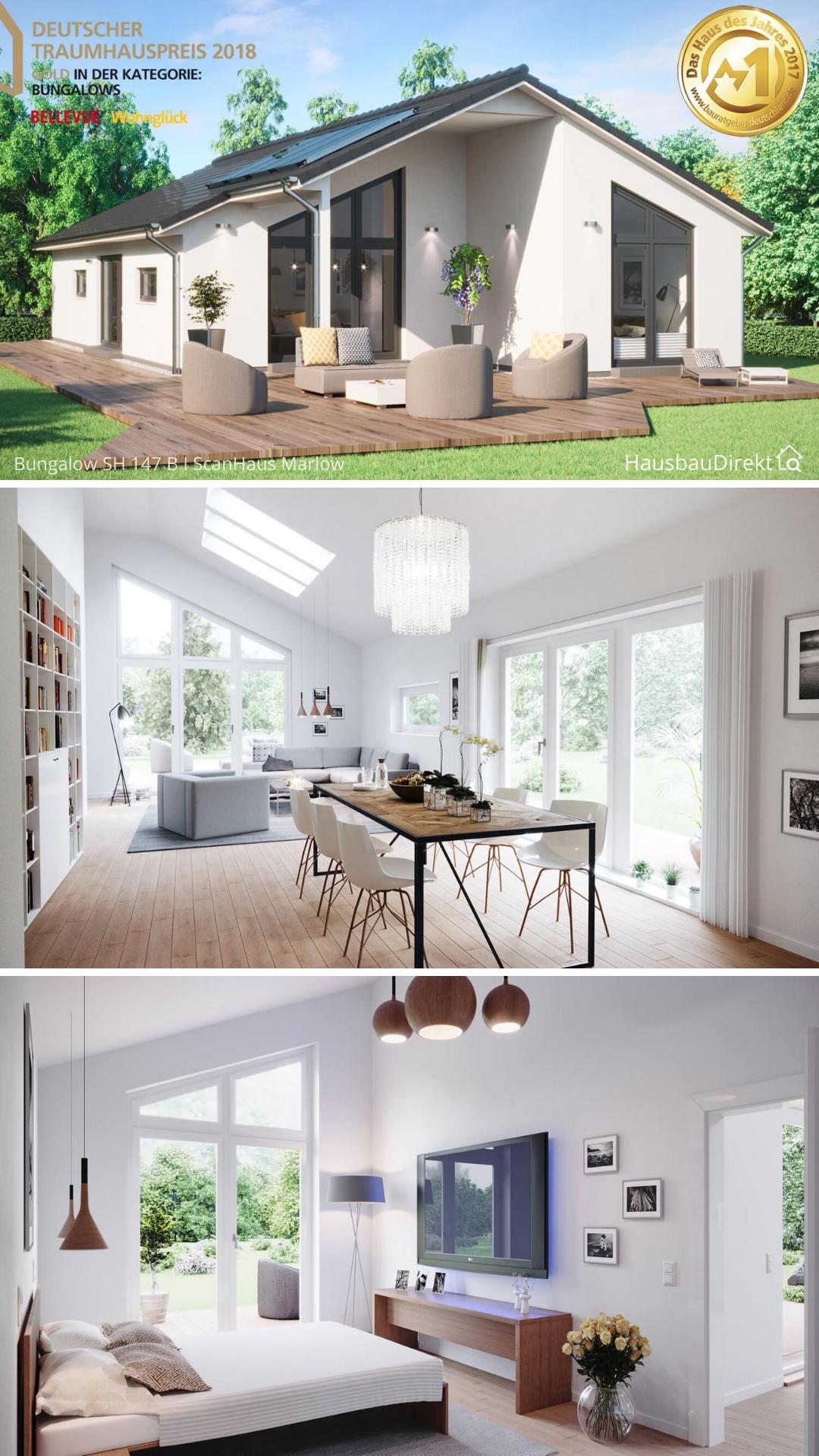 Bungalow Haus Design modern mit Satteldach, überdachter ...