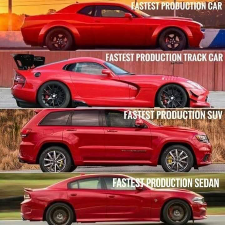 Chevy And Ford Who Fastest Mopar Demon Dodge Challenger Viper Charger Hellcat Jeep Grandcherokee Trackhaw Dodge Viper Mopar Mopar Cars