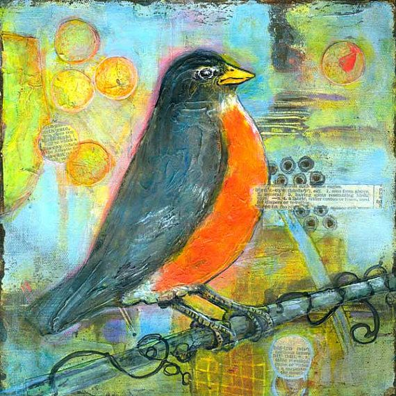 Bird Print, Red Robin, 8X8 Wall Art, Collage Mixed Media Collage, Bird Artwork, Abstract
