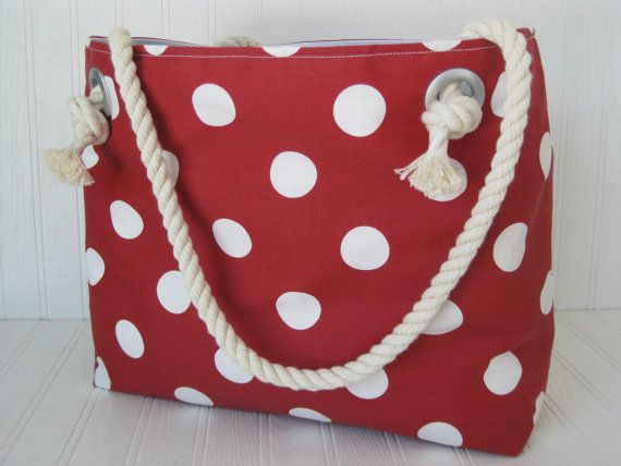 Red Tote Beach Bag Valentine's GIFT UNDER 50 Polka Dots Red and White Vacation Bag Carry On Bag Red Handbag