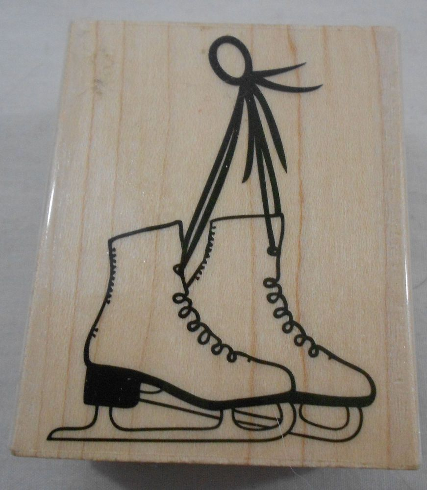 Rubber stamps arts and crafts - Hero Arts Crafts Ice Skates Rubber Stamps Wood Mounted
