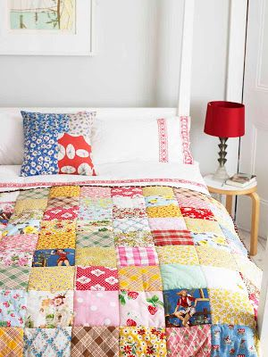 next-stitch: Up-cycled shirt patchwork quilt-   use your favorite shirts, husbands shirts, and children's clothing
