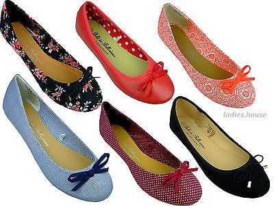 Kids Girls Womens Low Heel Canvas Ballerina Bow Cord Dolly Shoes Pumps Shoes