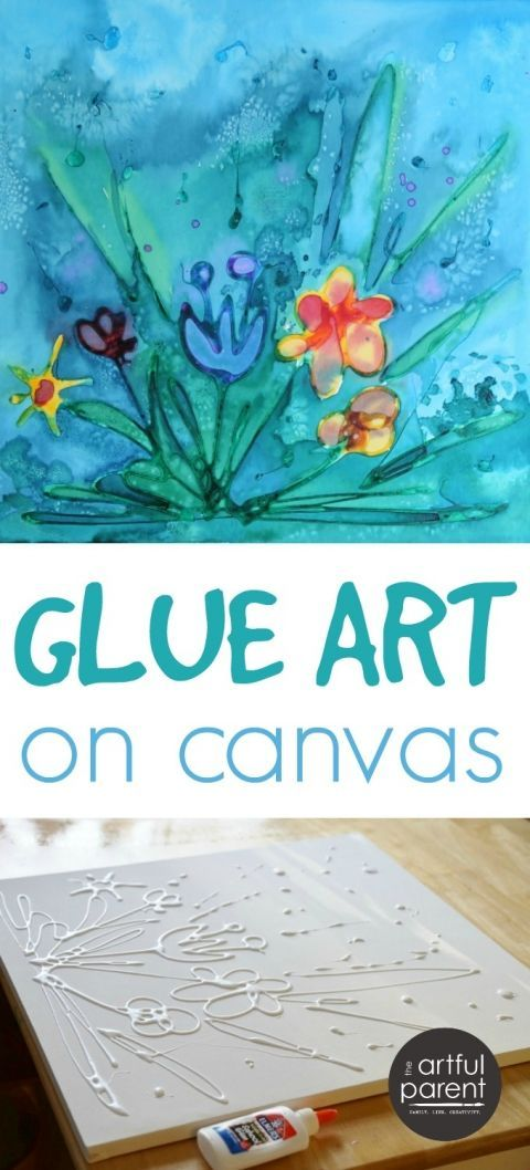 Glue Art On Canvas With Watercolors Glue Art Art Activities