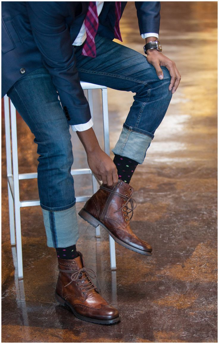 Pin By Lookastic On Striped Menswear Fashion Boots Navy