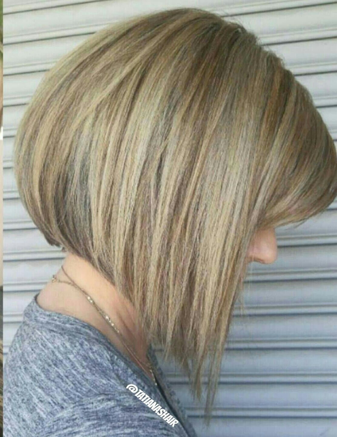 A Line Bob Highlights Lowlights Aline Haircut Long Hair Styles How To Curl Your Hair Blonde Bobs