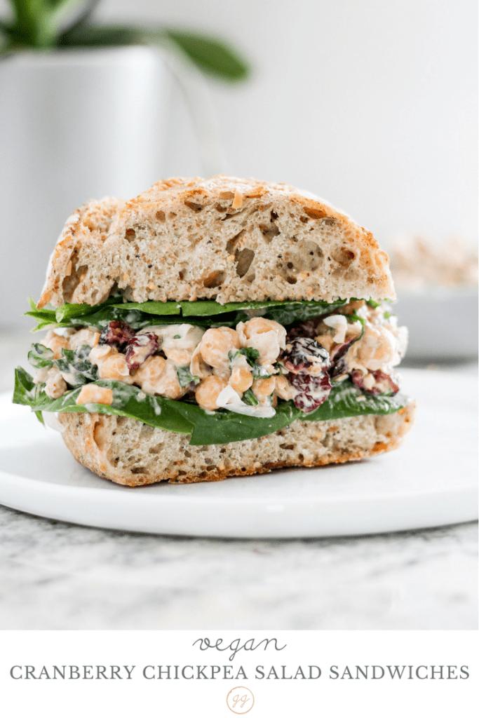 Vegan Cranberry Chickpea Salad Sandwiches