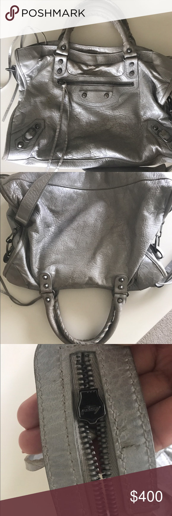 Authentic Balenciaga Silver Metallic Moto City Bag My Posh Picks Mini Edge Ghw Used I Mean You Can See