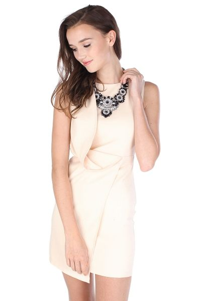 70327cc3e5d3 KYRA ASYMMETRICAL OVERLAP DRESS IN CREAM | The Blush Inc. | Style ...