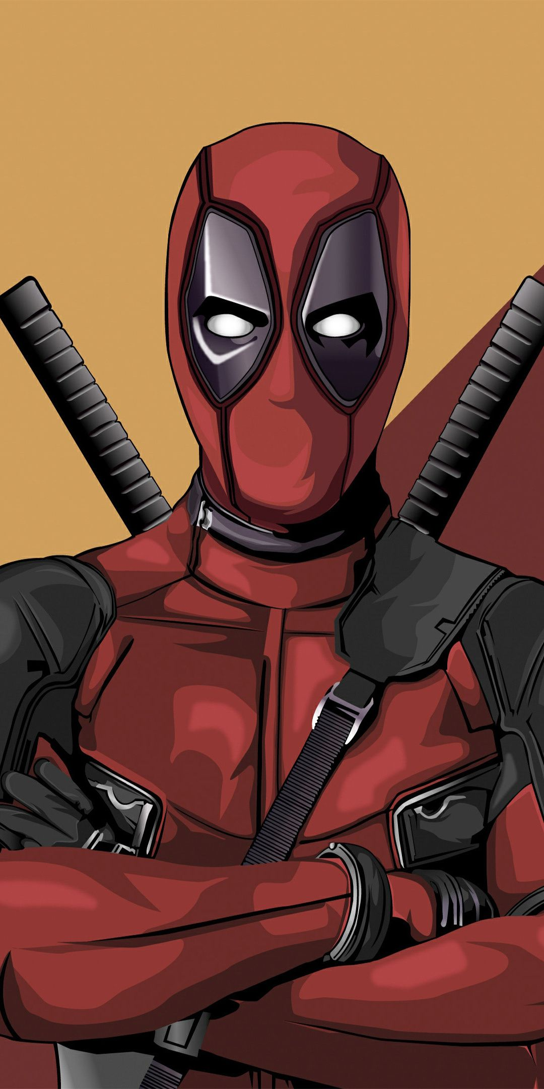 Deadpool Superhero Vector Artwork 1080x2160 Wallpaper