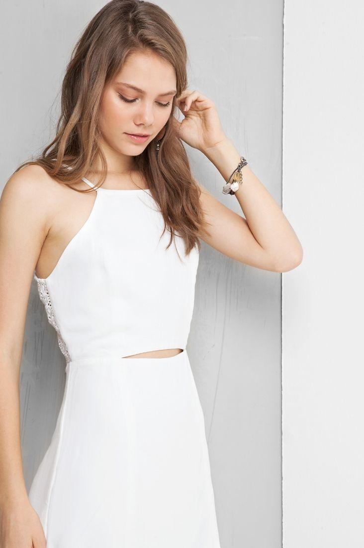 vestido ilhós amarração costas