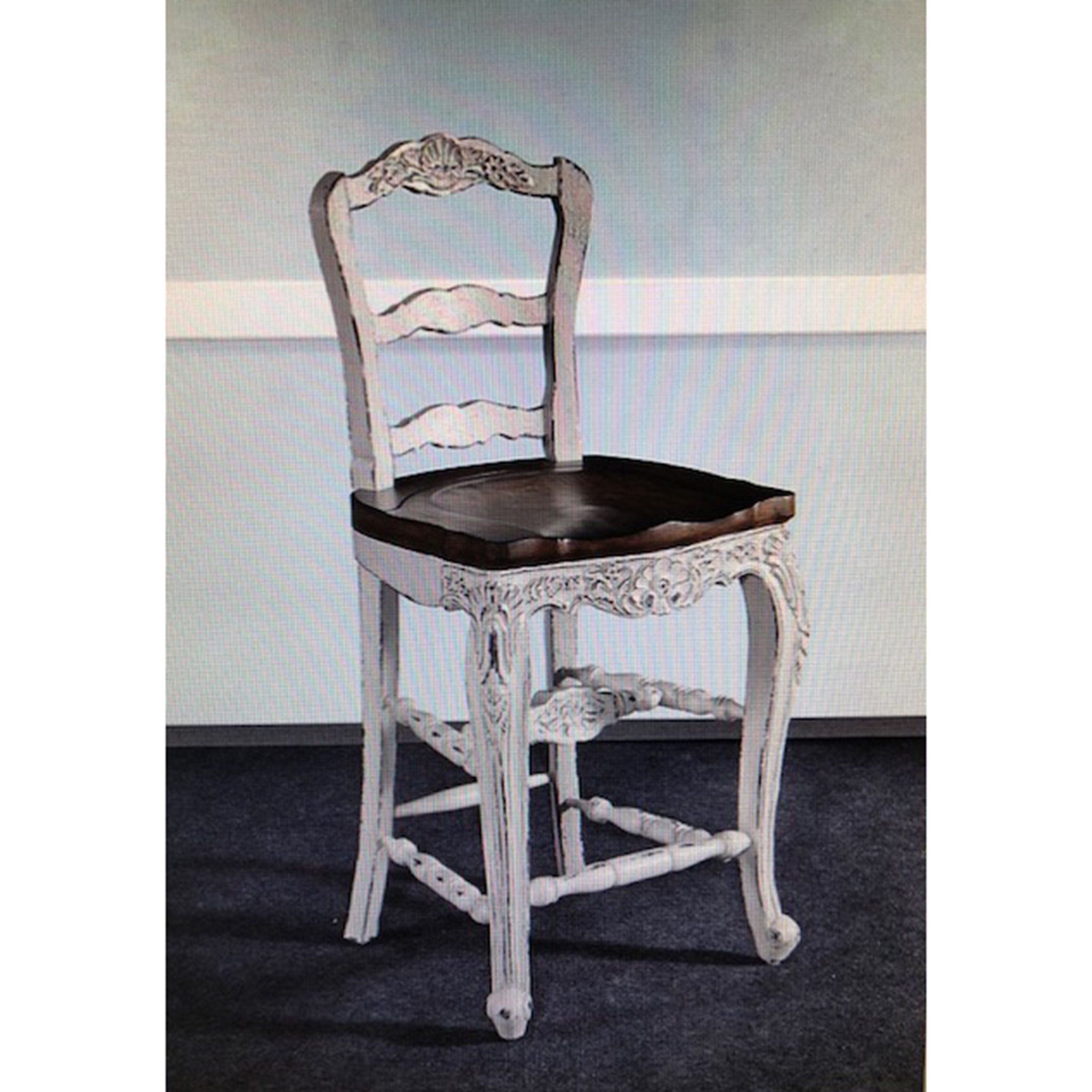 Farmhouse White Distressed Counter Height Barstool Set of