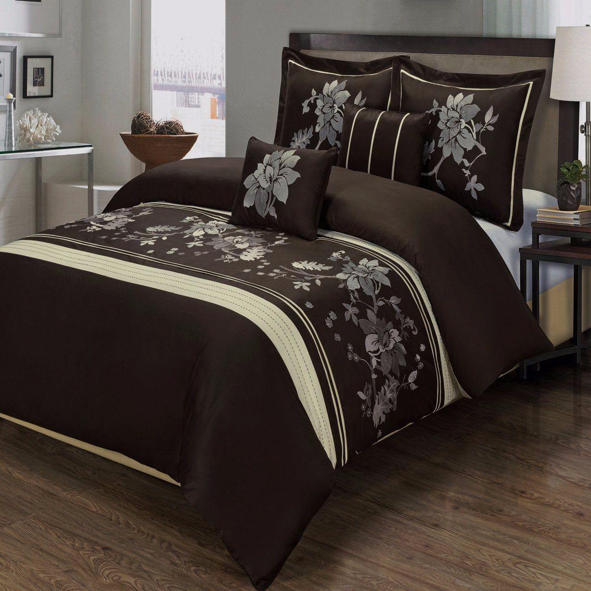 Modern Brown Cream Cotton 5pc Floral Duvet Cover Set Brown Bed
