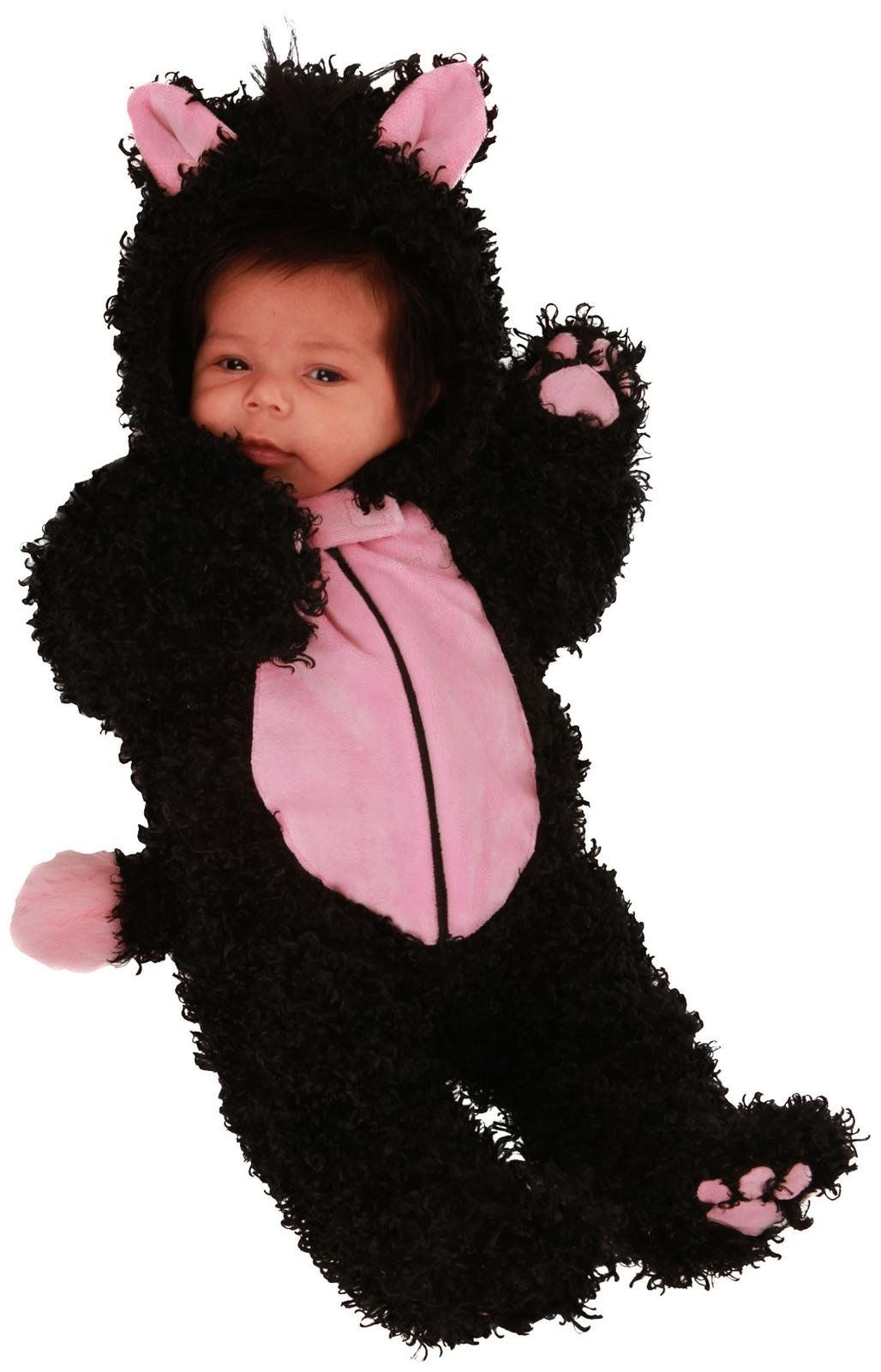 Fuzzy kitty costume with a cute pink belly for your
