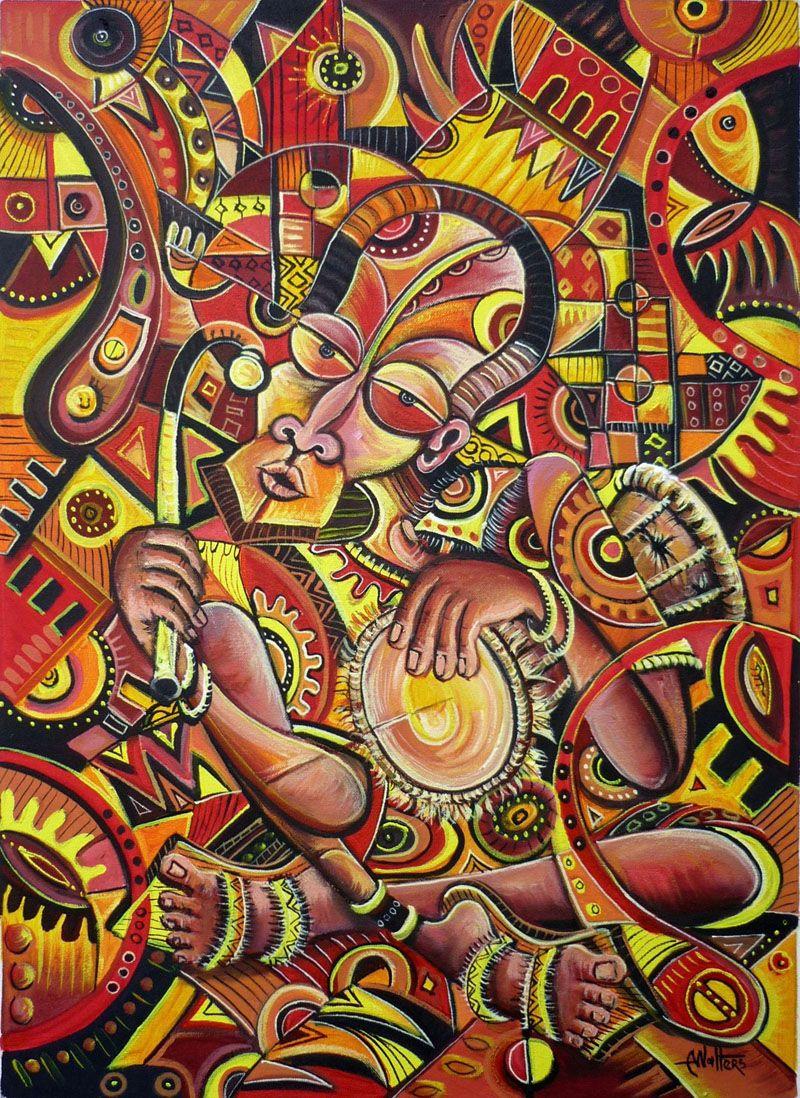 The Flutist III African art, Afro art, Folk art