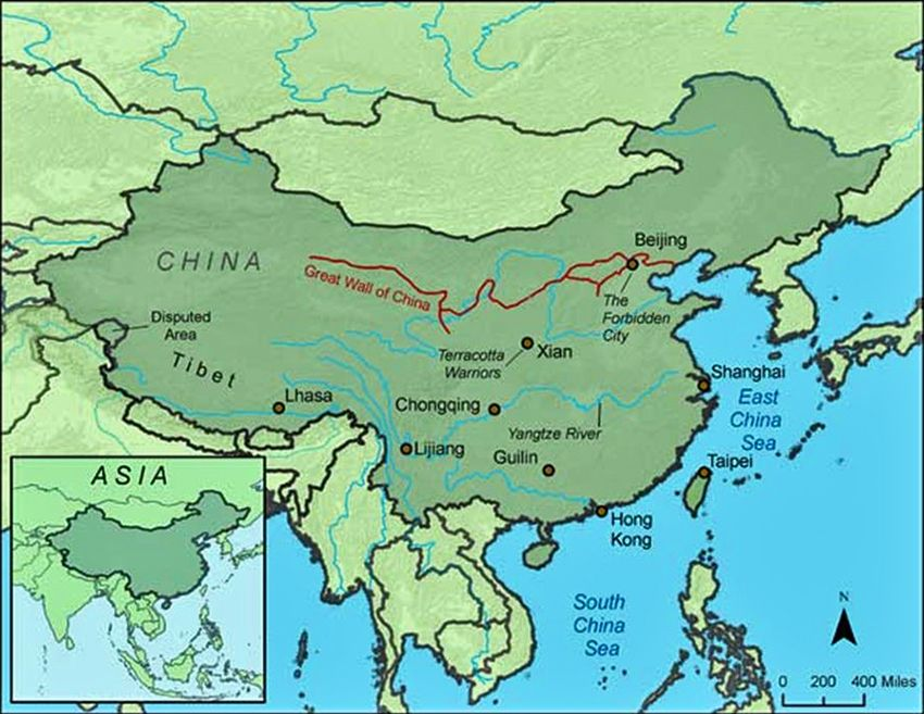 Great Wall Of China Map View.Map Of Great Wall Of China Endless Views Of The Great Wall In