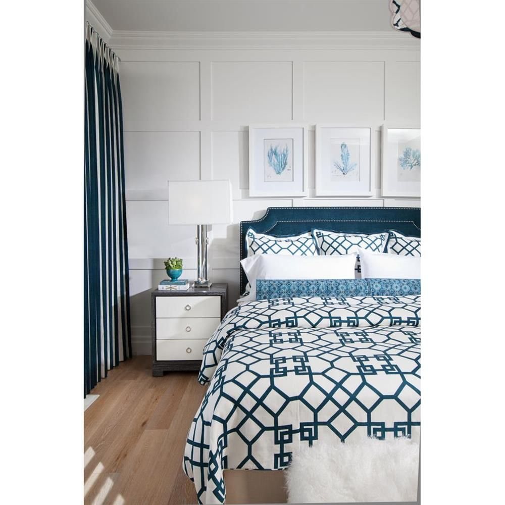 Blue Panelled Accent Wall: Samuel Modern Silver Grey Lacquer Limed Birch Nightstand
