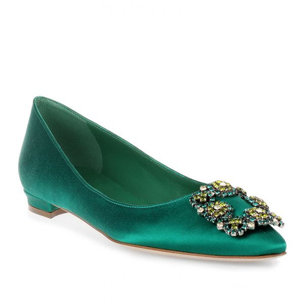459123f040106 ... australia manolo blahnik flat hangisi satin emerald 975 liked on  polyvore featuring shoes d7b79 b50b1