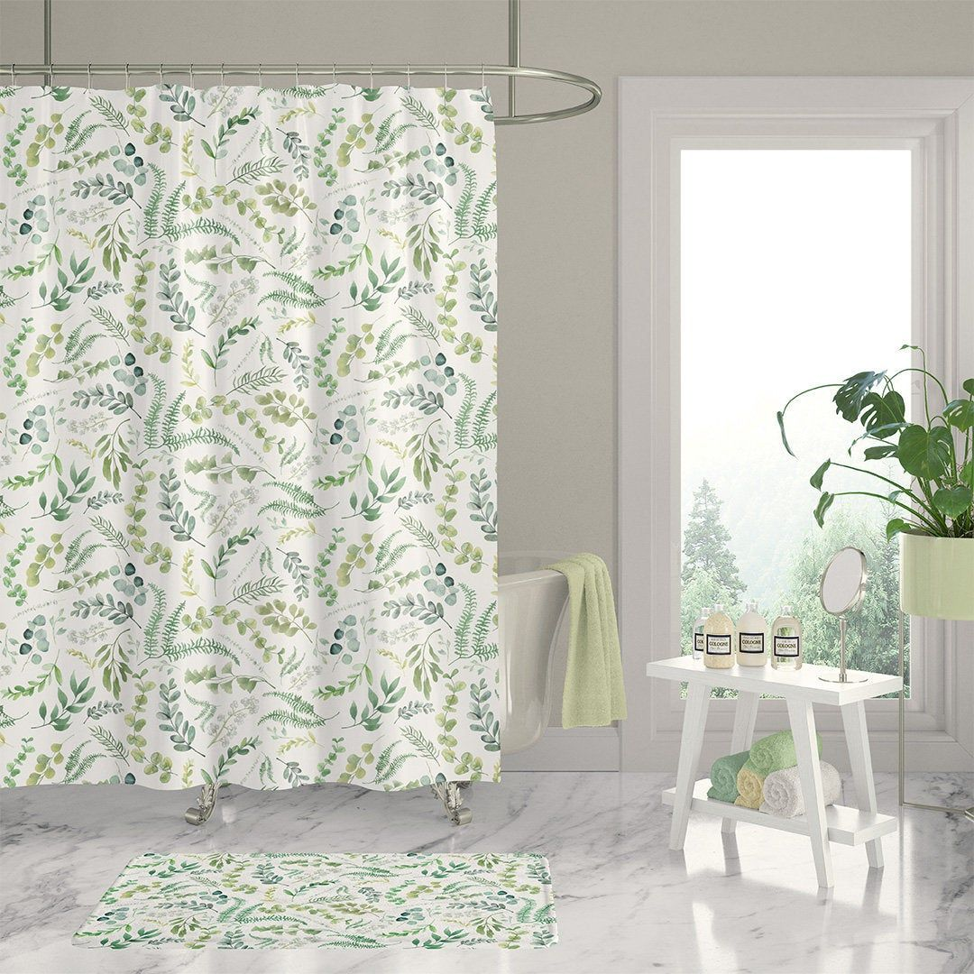 Botanical Shower Curtain Leafy Green Floral Shower Curtains