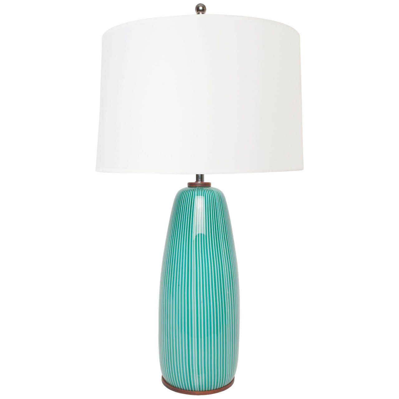 Blue glass table lamps  Venini Mid Century Striped Torquoise Glass Table Lamp with Wood Base