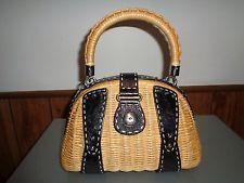 9705a5512c455 MONSAC Tan Woven Wicker Black Leather Handbag Purse Satchel Tote ...