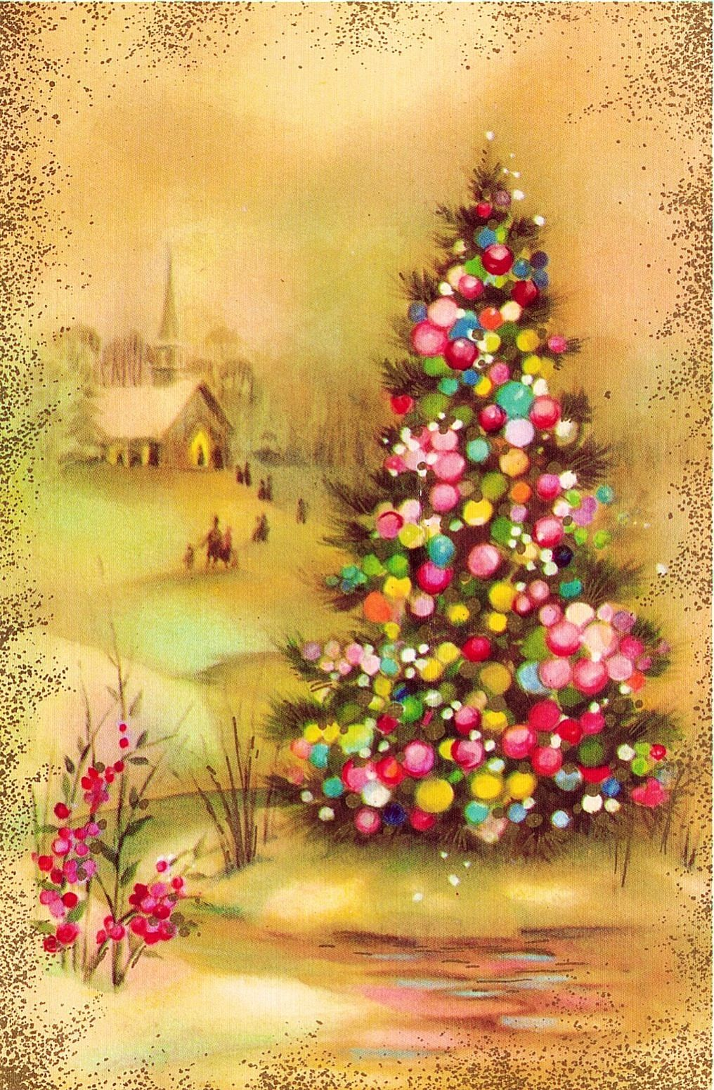 Vintage Quality Crest Christmas Card Christmas Tree W Church In