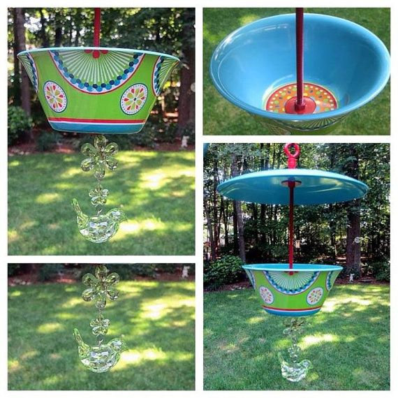 Covered Hanging Bird Feeder Turquoise Retro by EllensClayCreations