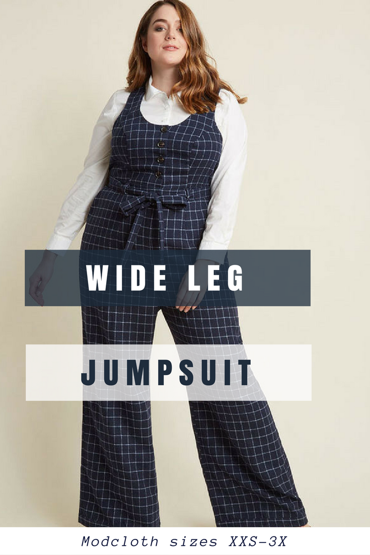775107373d35 Lovely buttoned tailored Wide-Leg Jumpsuit in blue Plaid  modcloth  ad   jumpsuit