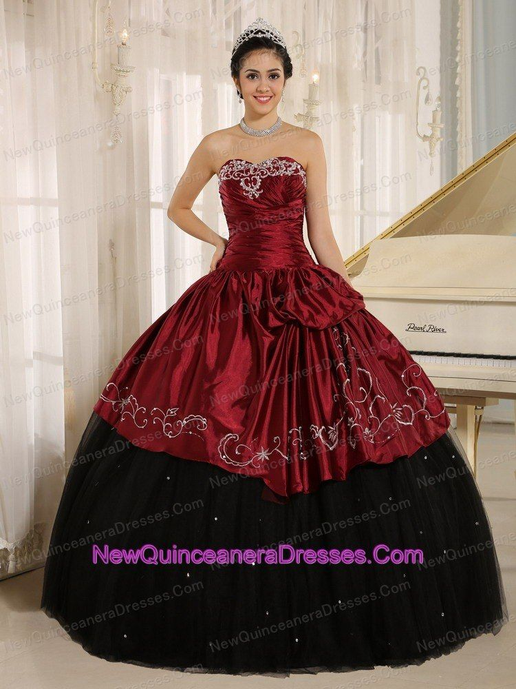 b834a86ad33 Custom Made Beaded and Embroidery Decorate Black and Wine Red Quinceanera  Dress Wear In Trinidad