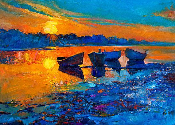 Contrast, Landscape Painting Original Art Impressionistic Original Oil on Canvas by Ivailo Nikolov