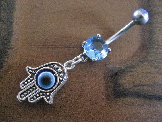 Evil Eye Belly Button Ring Jewelry Blue Hamsa Hand Fatima Charm