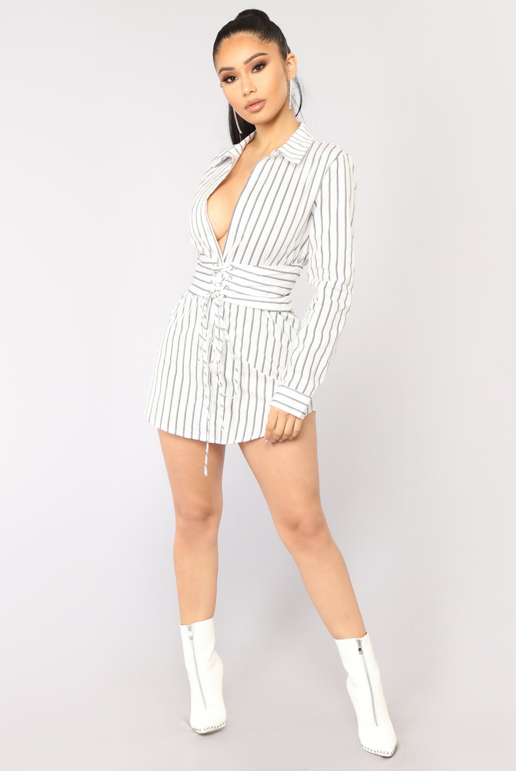 afc6de34f53a29 Women S Fashion Express Shipping. Available In White And Navy Shirt Dress  Striped Print Button Down Corset Waist Collared 100% Cotton