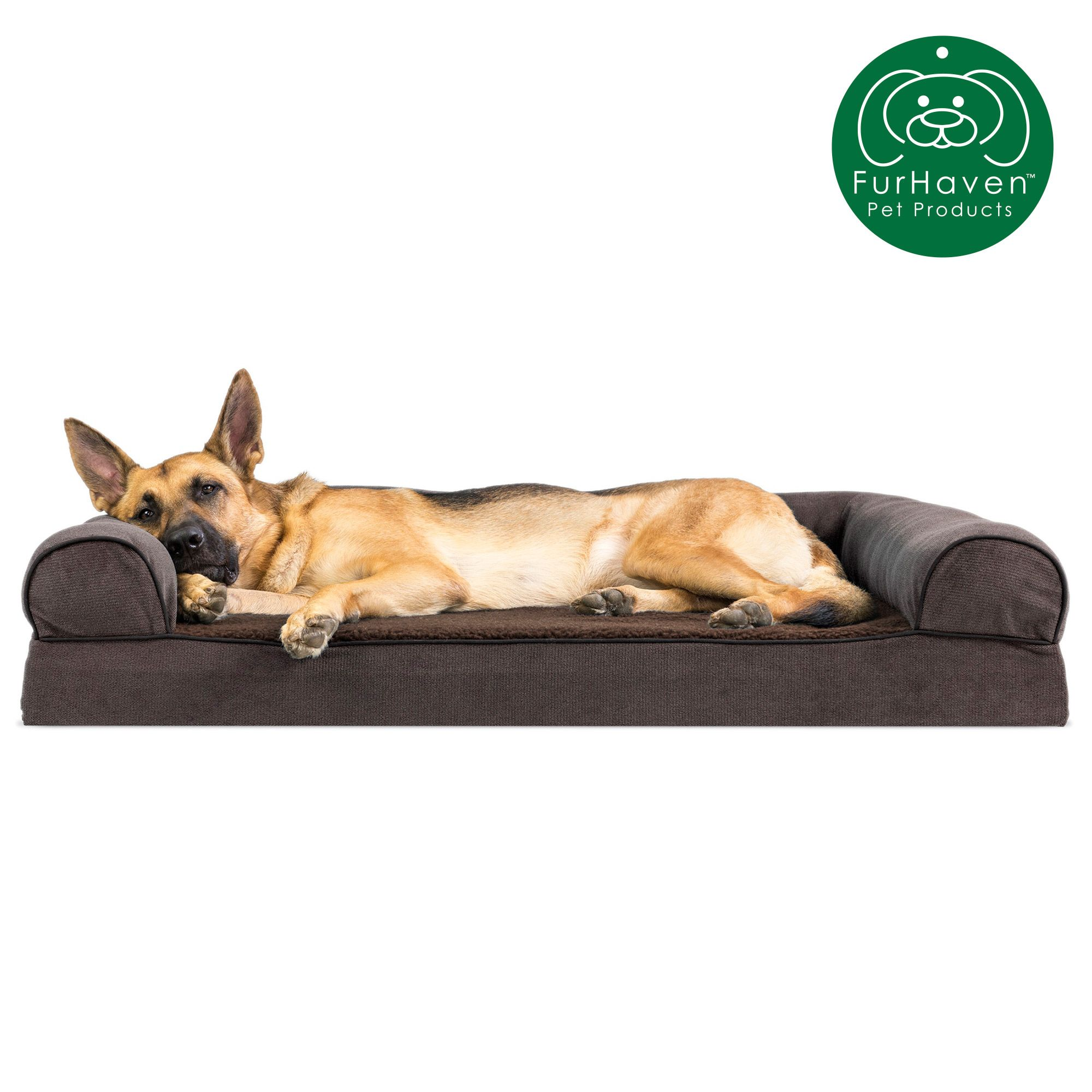 Furhaven Pet Dog Bed Memory Foam Faux Fleece Chenille Couch Sofa Style Pet Bed For Dogs Cats Coffee Jumbo Walmart Com Memory Foam Dog Bed Dog Pet Beds Dog