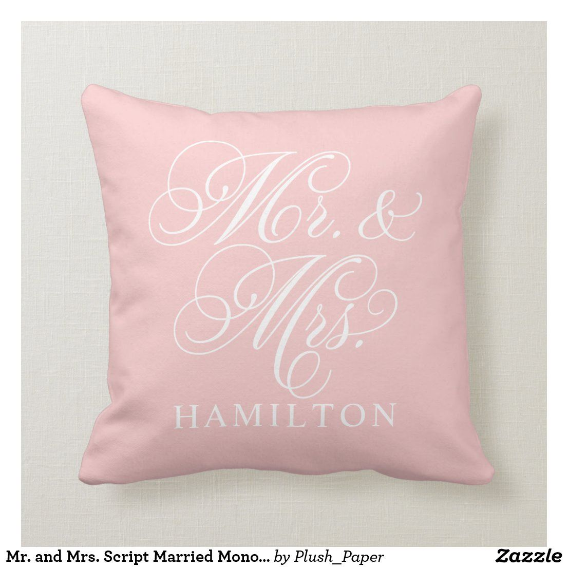 Mr. and Mrs. Script Married Monogram Pink Throw Pillow | Zazzle.com